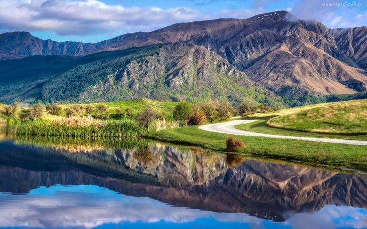 Góry, Droga, Jezioro, Drzewa