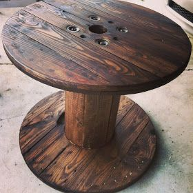 A Wooden Spool Table that just as easily could have ended up rotting in a field or left for the burn pile. And yet, how cool is it with a little dark stain added - to be used as a table. Environmentally friendly furniture made from wooden spools.