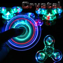 New Crystal LED Hand Fidget Clear Flash Light EDC Finger Tri Spinner For Autism ADHD Relief Focus Anxiety Stress Relax Gift Toys(China (Mainland))