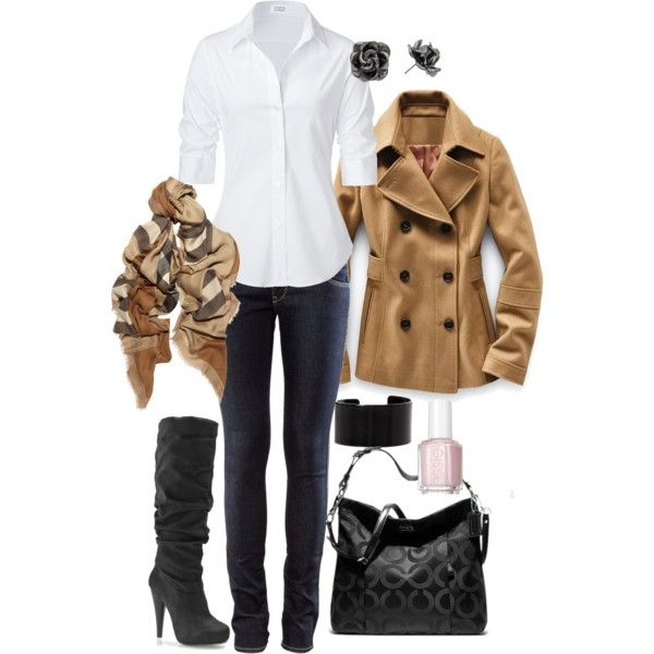 Casual Outfit: Fall Style, Smart Casual, White Shirts, Fall Outfits, Fall Looks, Fall Fashion, Casual Outfits, Coats, Boots