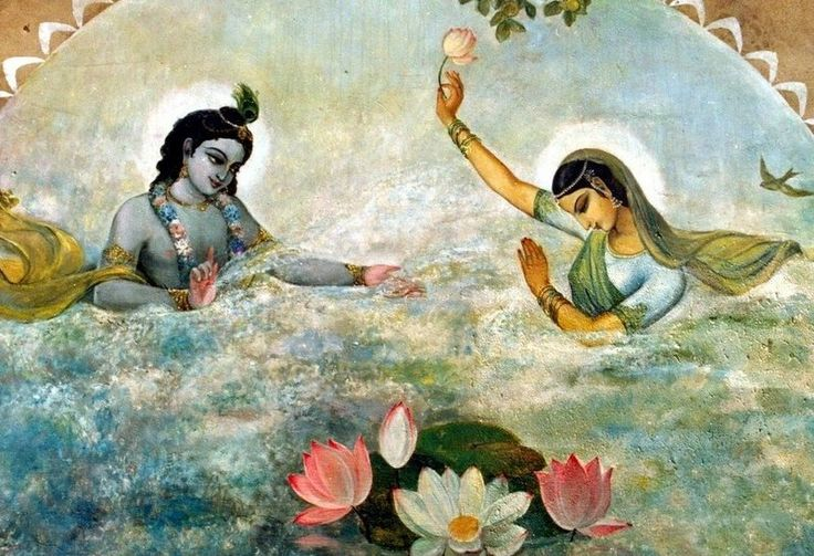 Water sports-  the eternal couple, Krishna and Radha, have all the propensities of ordinary human beings, since They are our source.
