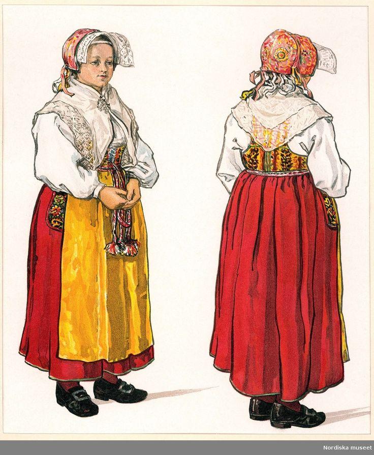 Folkdräkt, kvinna. Festdräkt för gift kvinna, Gagnef socken, Dalarna. Bildtryck efter akvarell av Emelie von Walterstorff.  @ DigitaltMuseum.se