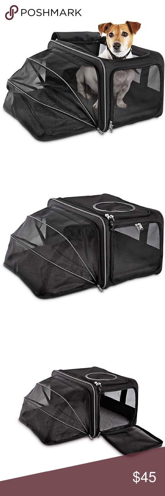 Good2Go Expandable Pet Travel Carrier, Black Good2Go Expandable Pet Travel Carrier, Black, shoulder strap and handles, used once, pictures provided of condition, gives your dog or cat room to stretch out thanks to a zip-out window. with inner fleece pad,  Side and top entry points, carry handle, and removable shoulder strap.  All bundles of 2 or more receive 15% off. Closet full of new, used and vintage Vans, Skate and surf companies, jewelry, phone cases, shoes, Men's, women's, plus sized