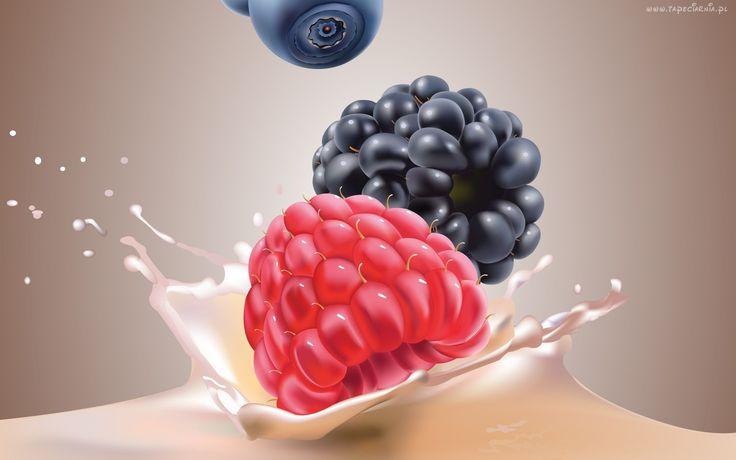 Owoce, Malina, Jeżyna, 3D