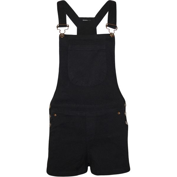 Kira Patch Pocket Dungaree Playsuit ($18) ❤ liked on Polyvore featuring jumpsuits, rompers, black, dungarees, overalls, black rompers, black overalls, black bib overalls, playsuit romper and bib overalls