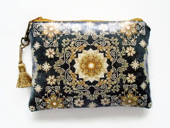 Black and Gold Waterproof Ladies Wallet by JiggleMaWiggle on Etsy