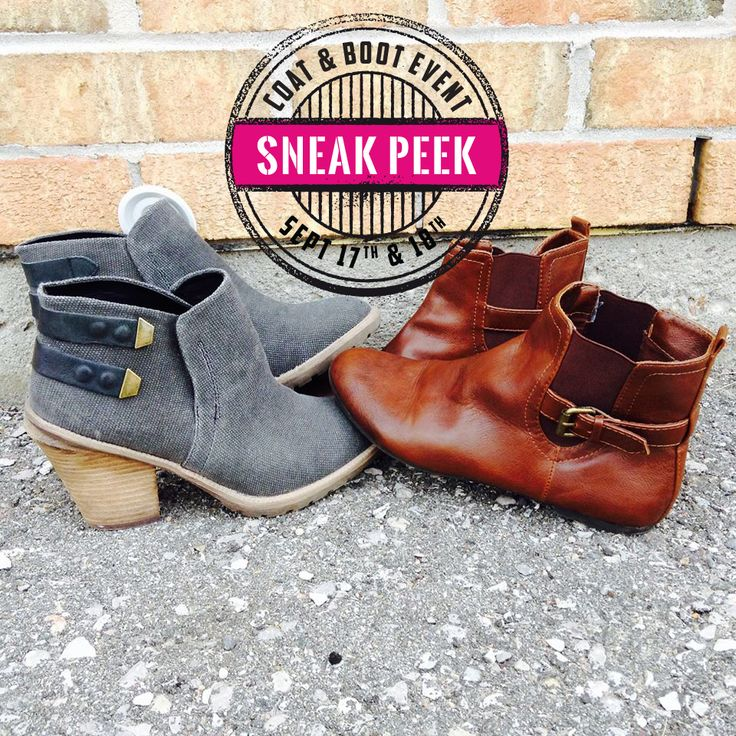 It's almost time! From Sept. 17 to 18th our big #coat & #boot event is happening! Dozens of styles to fit all your #activities, and prices so #unbelievable you can buy them all! Don't miss out! #SneakPeek #Boots #FallTrends