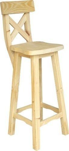 banco taburete de pino con respaldo x: