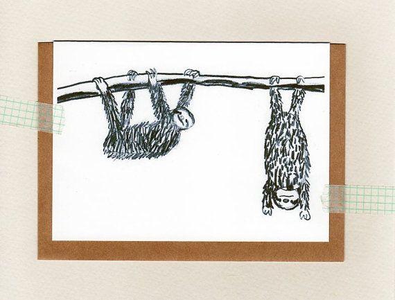 SLOTH Card ... Blank ... oz au wandarrah by ThePaisleyFive on Etsy