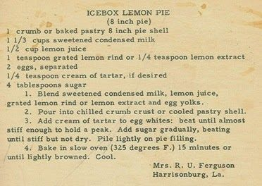 Roots from the Bayou : Family Recipe Friday - Icebox Lemon Pie #genealogy #familyhistory
