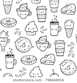 foto de Various kawaii food Hand drawn vector seamless pattern