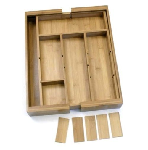 Kitchen Utensil Tray Wooden Bamboo Expandable Removable Drawer Organizer Kitchen Utensil Tray