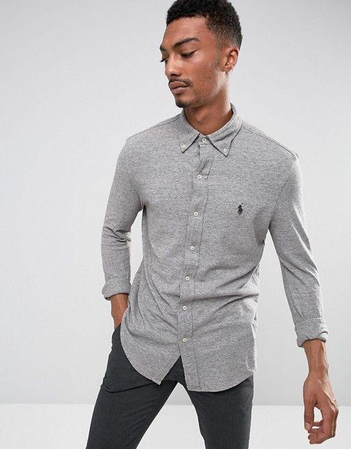 35a73cd68 Polo Ralph Lauren Slim Fit Pique Shirt Buttondown in Grey Marl