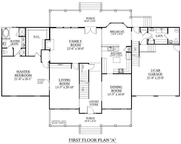 House plan 3241 a brookfield a first floor plan 3241 for 2 car deep garage