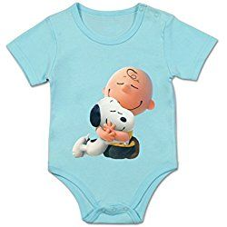 Unisex baby Buckle Shoulder Climbing Clothes The Peanuts Movie Charlie Brown Snoopy Baby Rompers 3M