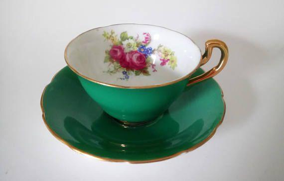 Vintage Antique Vanderwood Cup And Saucer Cobalt Green Cup