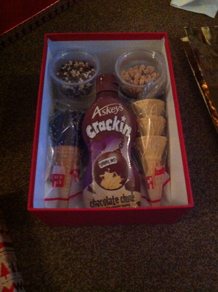 Ice cream gift! Ice cream cones. Sprinkles. Chocolate sauce. Gift hamper. Christmas gift.