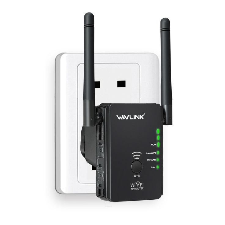 Wavlink N300Mbps wifi repeater/router/Access Point  WiFi Range Extender with 2 External Antennas WPS Protection UK Plug- Black
