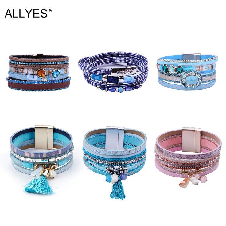 Allyes Trendy Genunie Leather Wrap Bracelet Femme Multilayer Wristband Crystal Wide Ladies Bracelets