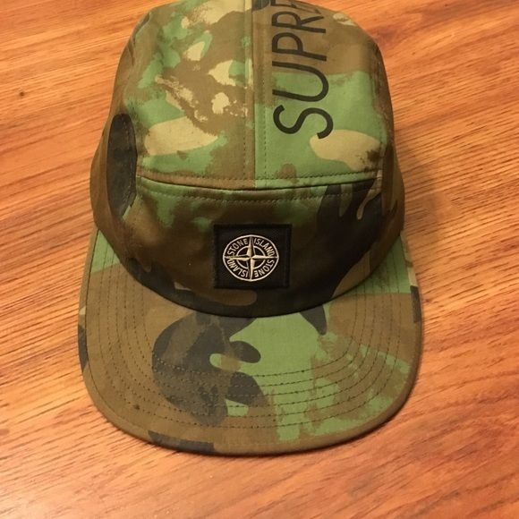 Supreme x Stone Island Five Panel Hat Brand new, never worn, no damage. Authentic. Camo-like print with black details. Supreme Accessories Hats