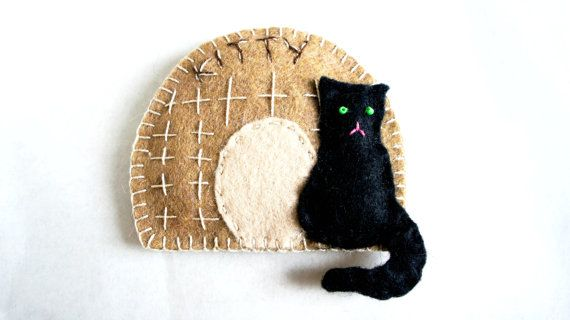 Cat house Ornament felt Personalized  Kitty by PrettyFeltThings