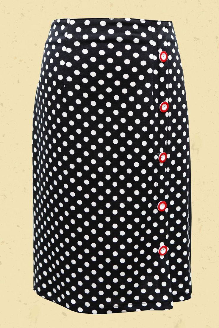 Talulabelle High waist stippen rok met tricot achterkant zwart wit skirt polkadots black white