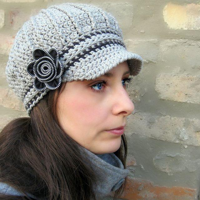 Ravelry: Newsboy Hat with Zipper Flower & Tutorial pattern by Viktoria Gogolak