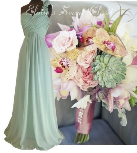 BNWT Sage Pale Green Corsage Chiffon Maxi Prom Evening Bridesmaid Dress 8 -18