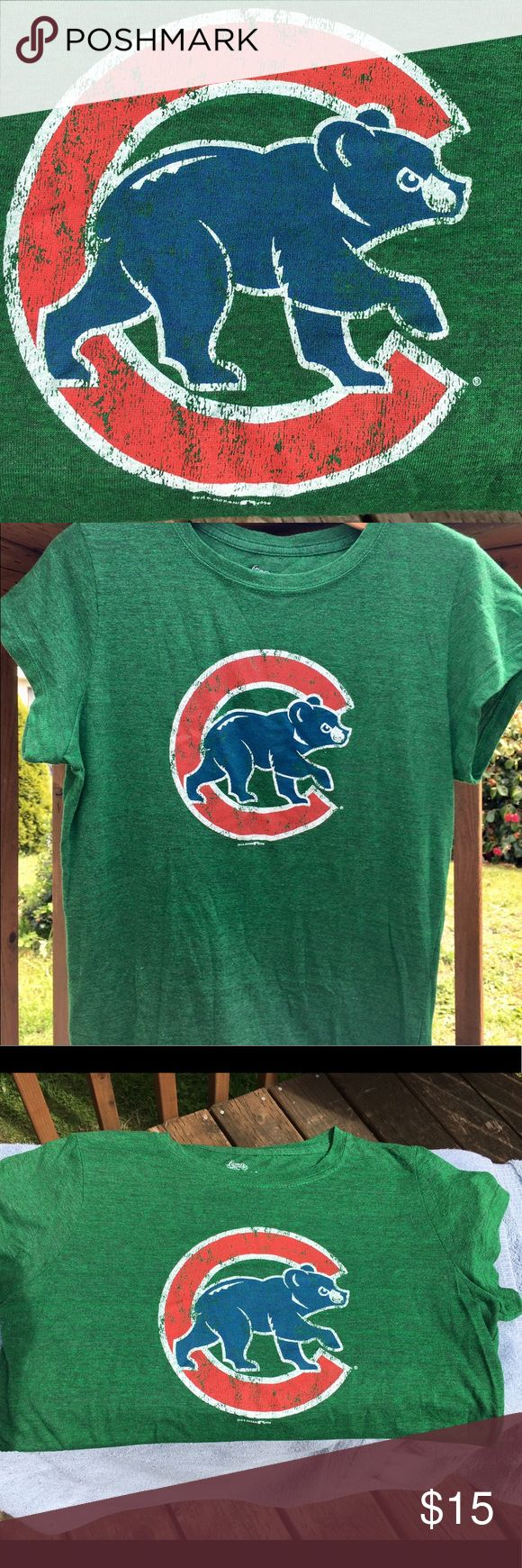 ⚾️️MLB Chicago Cubs T Womens 5th & Ocean super soft Cubbies T. Worn on St Pattys day only so in great condition. SMOOTH'S  DISCLAIMER FOR ALL ITEMS: 💯 Authentic 🚫NO trades  👉🏽NO longer taking offers on this item since it is priced as low as i can go. Postmark takes 20% of sales plz keep that in mind ❣️Please be kind as that's what you'll get in return ☮️Thanks for the opportunity to share my goods w/ u ✌🏽️💝😁 <- My Motto Peace, Love & Happiness Always! 5th & Ocean Tops Tees - Short…