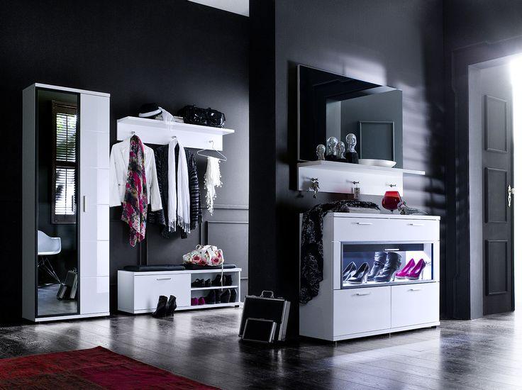 Garderobenpaneel rubin ii hochglanz wei klare moderne for Schmaler hoher schuhschrank