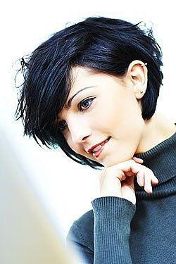 Dark blue color and a super cute short cut!