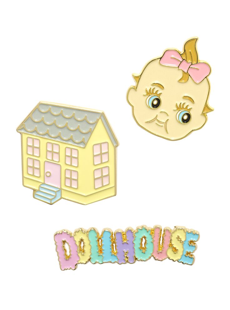 """<i>Hey, girl, open the walls, play with your dolls. We'll be a perfect family.</i><div><i><br></i></div><div>Places, places, put these pins in their places on your jacket, vest or backpack to show off your love for Melanie Martinez. The 3 pack includes a pastel dollhouse, a baby doll's face and """"<i>Dollhouse</i>"""" text design.<br><div><ul><li style=""""list-st..."""