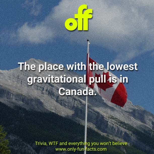 The place with the lowest gravitational pull is in Canada. - Only Fun Facts