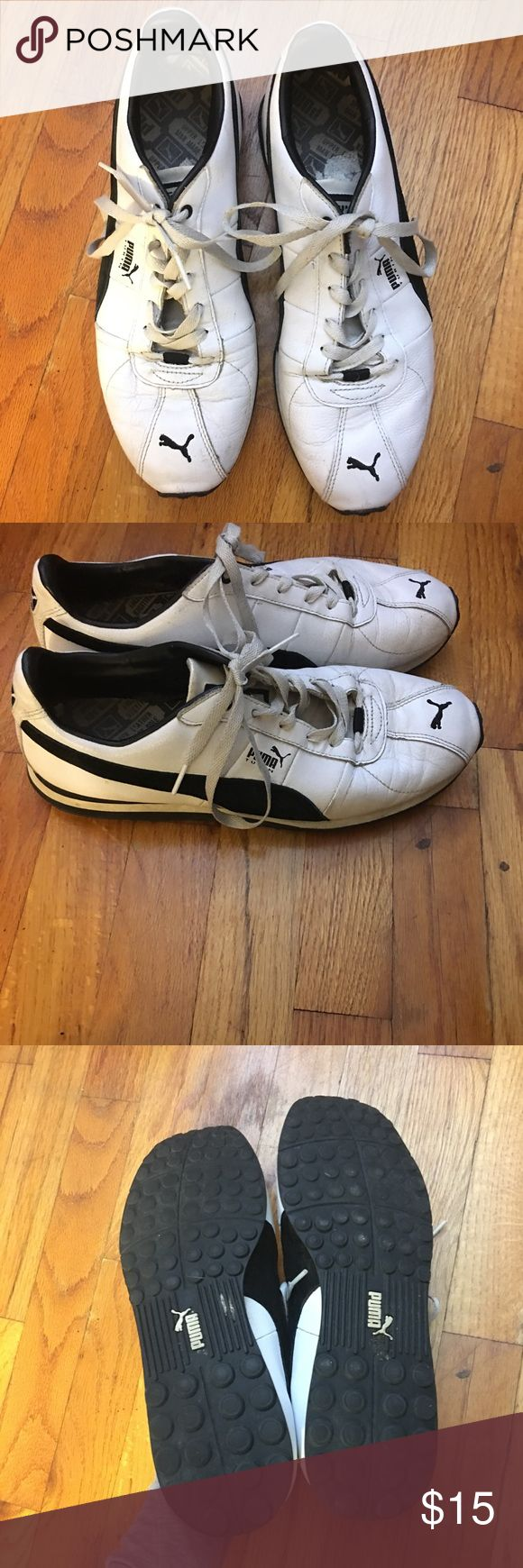 Puma Tennis Shoes White and black puma Tennis Shoes. Size 10. Normal signs of wear but still lots of life left to them! Comes from a smoke free home. Puma Shoes Athletic Shoes