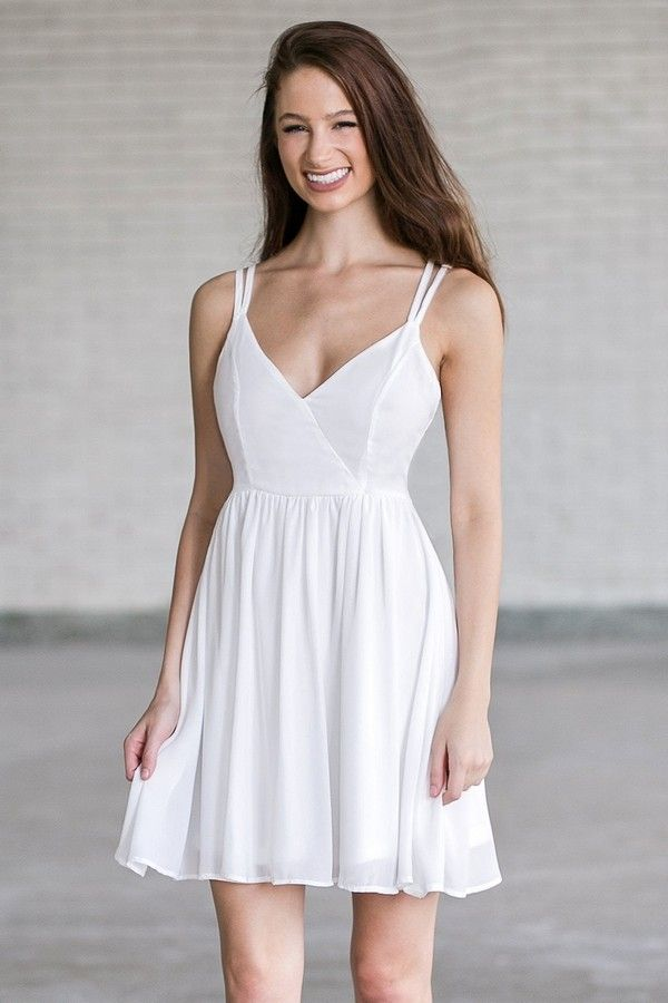 Lily Boutique Basically Beautiful Strappy Back Party Dress in Ivory, $30 Ivory Sundress, Cute Off White Party Dress Online, Summer Dress www.lilyboutique.com