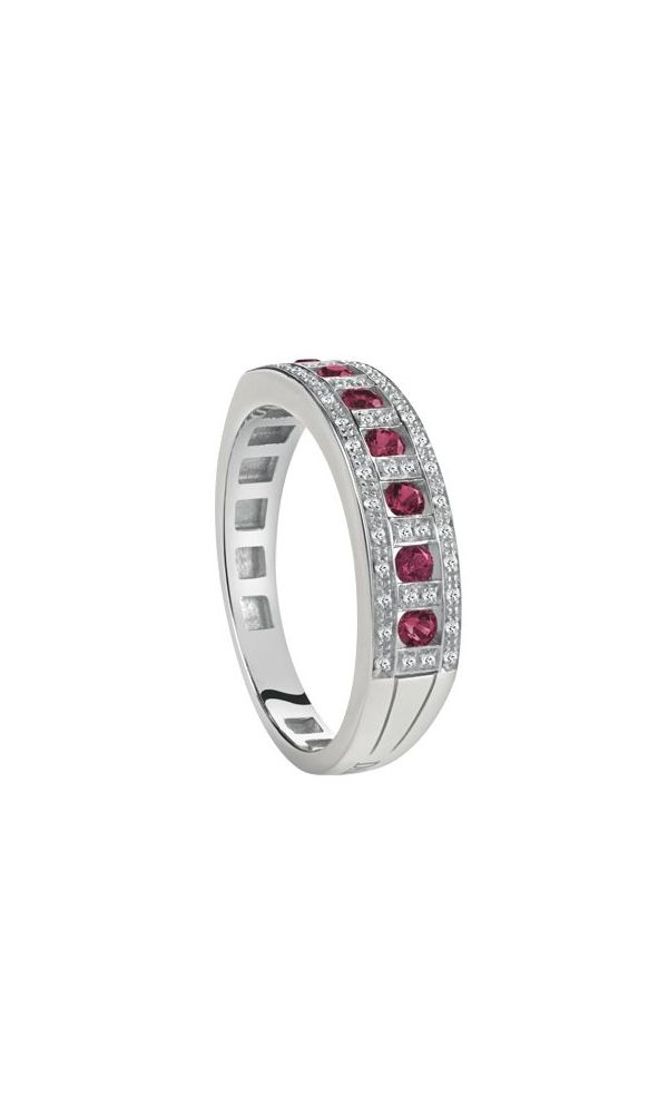 Belle Époque white gold, diamonds and rubies ring.