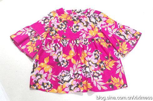 [刘小喵手工]又是为初秋准备的:喇叭袖小童衫(含教程和图纸)