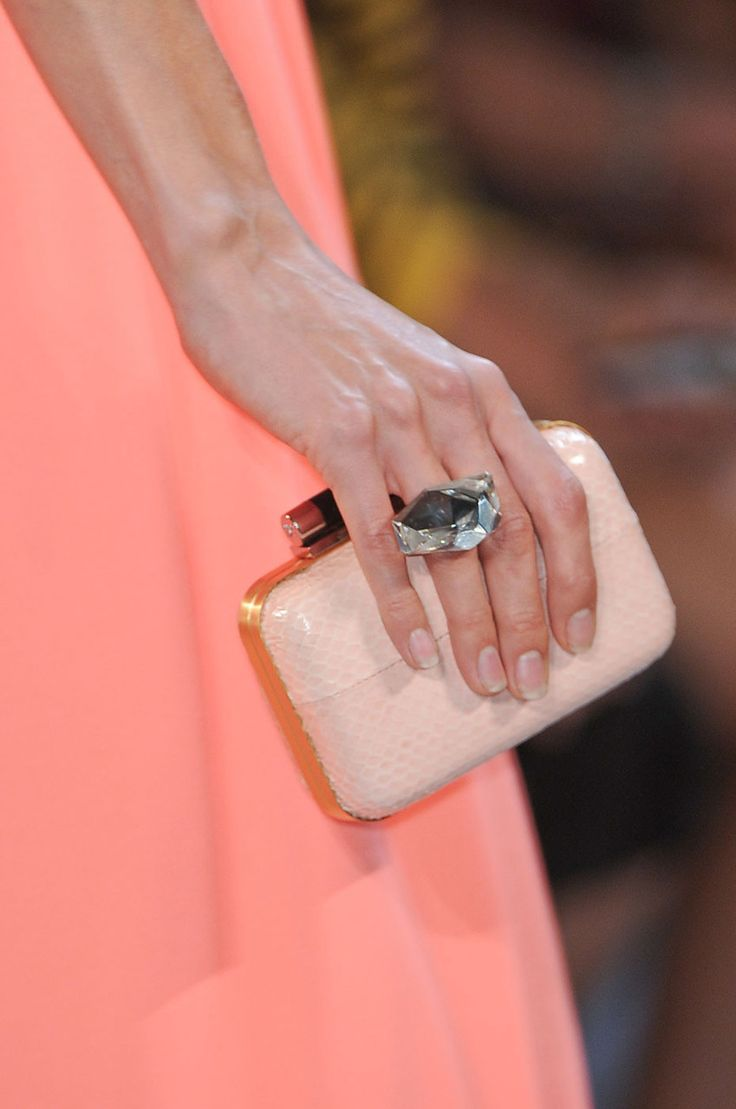 DVF / clutch  statement ring: Fashion Weeks, Bag, Clutch Ed, Diane Von Furstenberg, New York Fashion, Spring 2012, Fashion File, Clutch Statement
