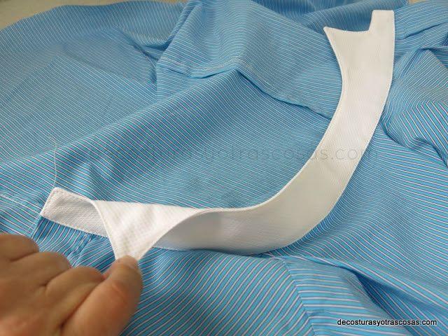 Воротник на стойке с загнутыми уголками, или воротник «бабочка», потому что мужские рубашки с таким воротником сочетают только со смокингом или с фраком и галстуком-бабочкой.   #воротник #как_сшить #шитье  http://www.decosturasyotrascosas.com/2016/03/como-coser-un-cuello-opera-esmoquin-o.html