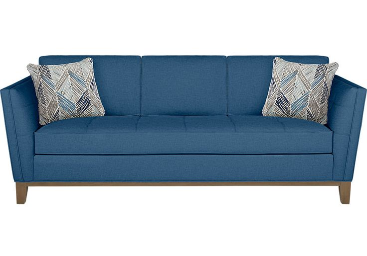 Park Boulevard Blue Sofa  .695.0. 94W x 38D x 37H. Find affordable sofas for your home that will complement the rest of your furniture.  #iSofa #roomstogo