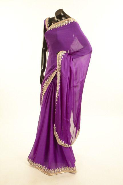 crepe purple violet saree with blouse