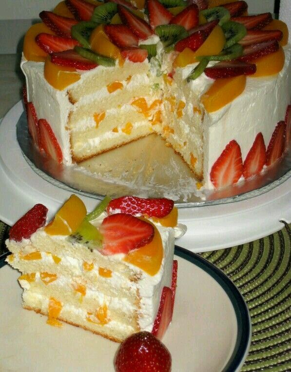 torta refrigerada de frutas