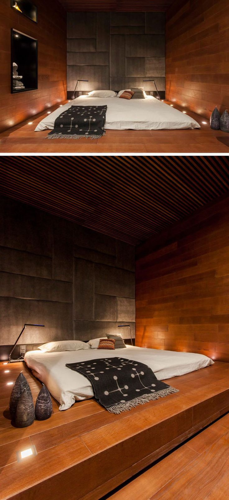 BEDROOM DESIGN IDEA - Place Your Bed On A Raised Platform // Surrounded by tiny lights built right into the wooden platform, this raised bed makes for a relaxing, sleepy oasis.