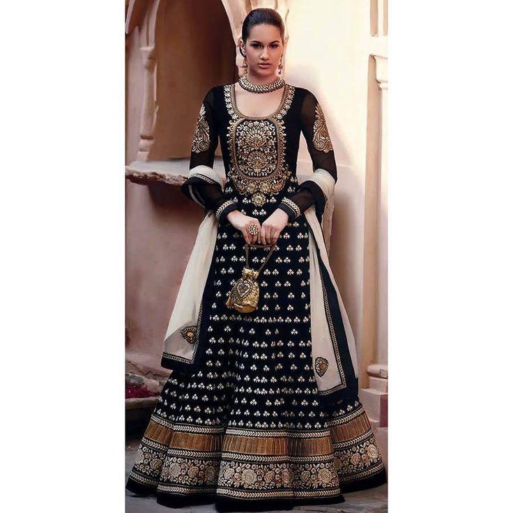 Designer Wear Black and Golden Wedding Gown