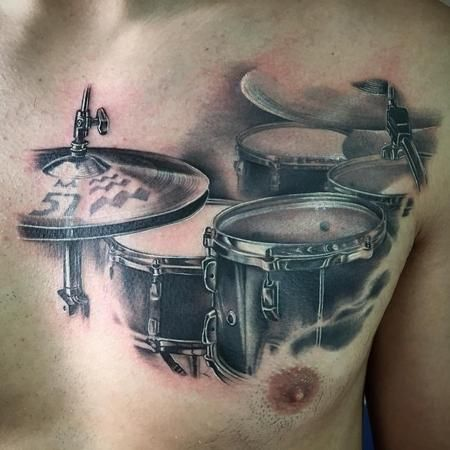 Tattoos - Realistic drum set black and grey - 117228