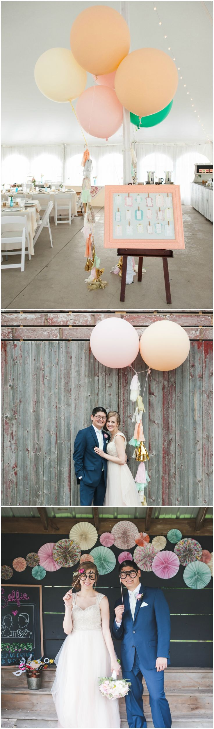 Whimsical wedding, décor ideas, balloons, paper fans, photo booth props // Elite Photo