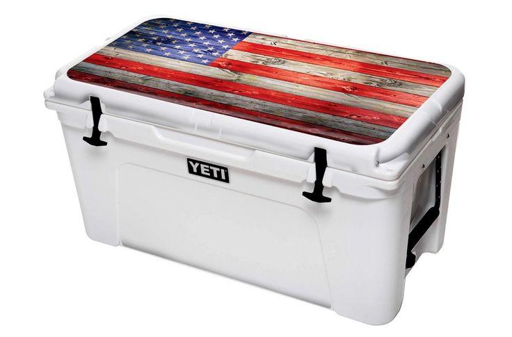 Designer Skin Sticker Fits:Yeti Cooler Ice Chest (Lid Kit) (65qt) - American Flag