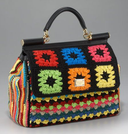Check out the price tag.  Dolce Gabbana has a few other crocheted bags at jaw-dropping prices.Coaches Handbags, Dolce Gabbana, Crochet Bags, Marc Jacobs, Granny Squares, Design Pur, Crochet Purses, Crochet Items, Crochet Handbags