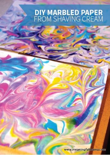 DIY Marbled Paper is quick and easy to make with shaving cream, food coloring, and a little water. There's so much room for creativity, and your kids can use the final product for more fun kids' crafts and art projects.
