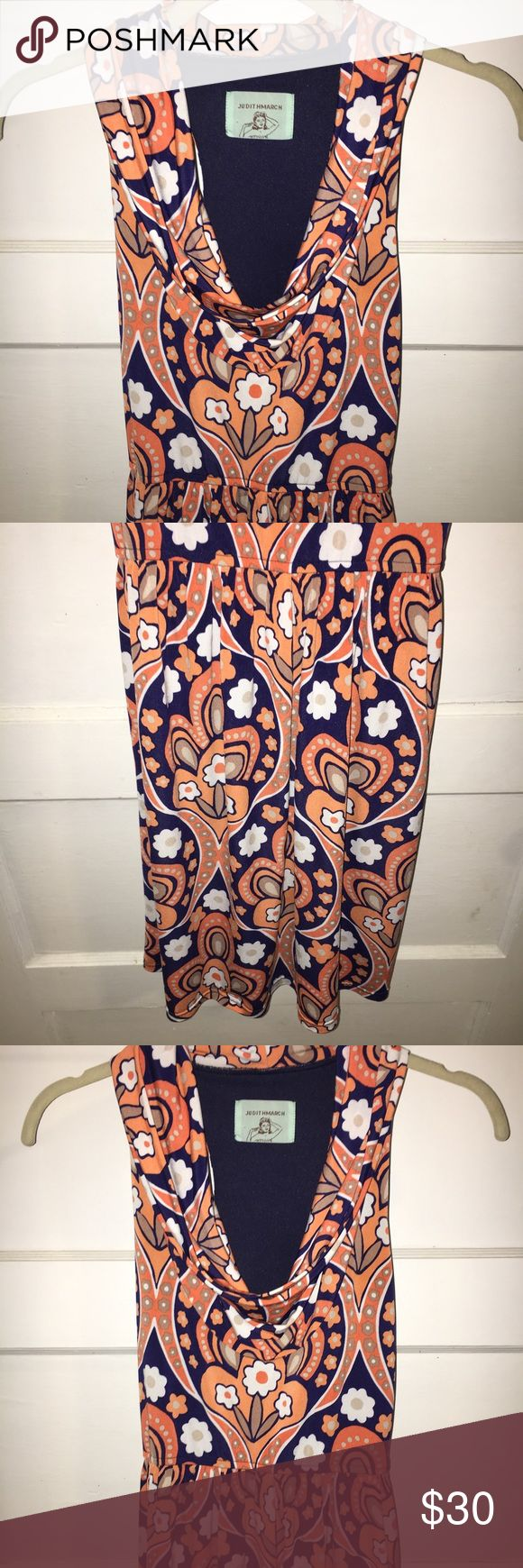JUDITH MARCH SMALL DRESS W/ COWL NECKLINE JUDITH MARCH SMALL DRESS W/ COWL NECKLINE. NAVY BLUE SLIP LINER UNDERNEATH. WOMEN'S SMALL. EUC** NO WEAR. NAVY, ORANGE, & WHITE. MAKE AN OFFER. Judith March Dresses Midi